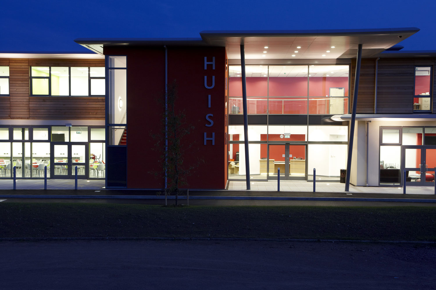 Front facade at dusk, Huish Episcopi Sixth Form, Langport, Somerset | Professional Commercial Photographer