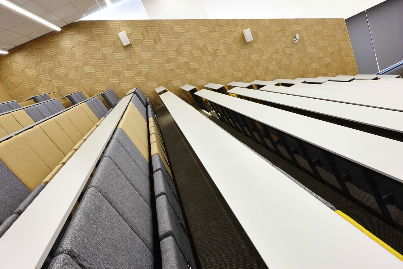 University Square Stratford lecture theatre   Interior Architecture Photography   Commercial Buildings Photographer