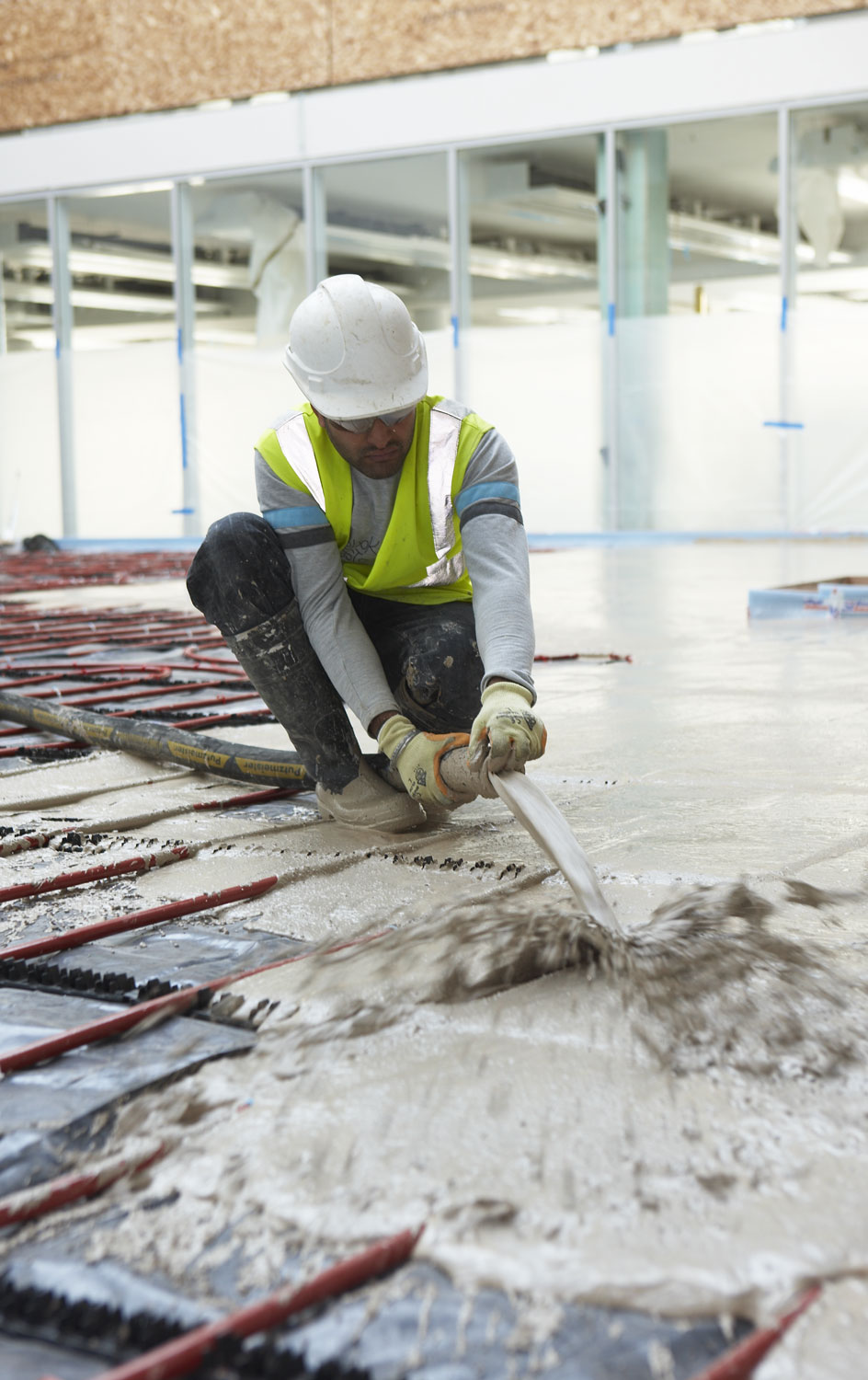 Pumped screed at Atkins headquarters at Aztec West, Bristol | Construction Building Photographer