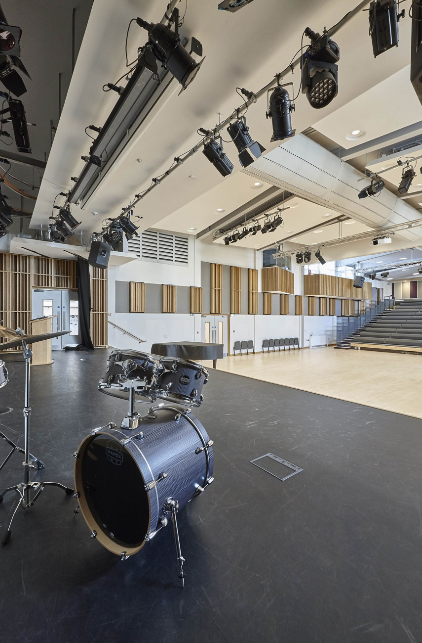 Putney High School Performing Centre stage and swinging noise control panels | Interior Photographer Wokingham | Architecture Photography London