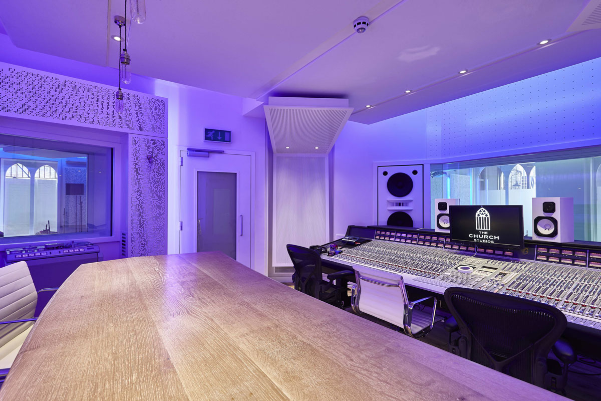 Interiors photography church recording studio crouch end for Music studio design