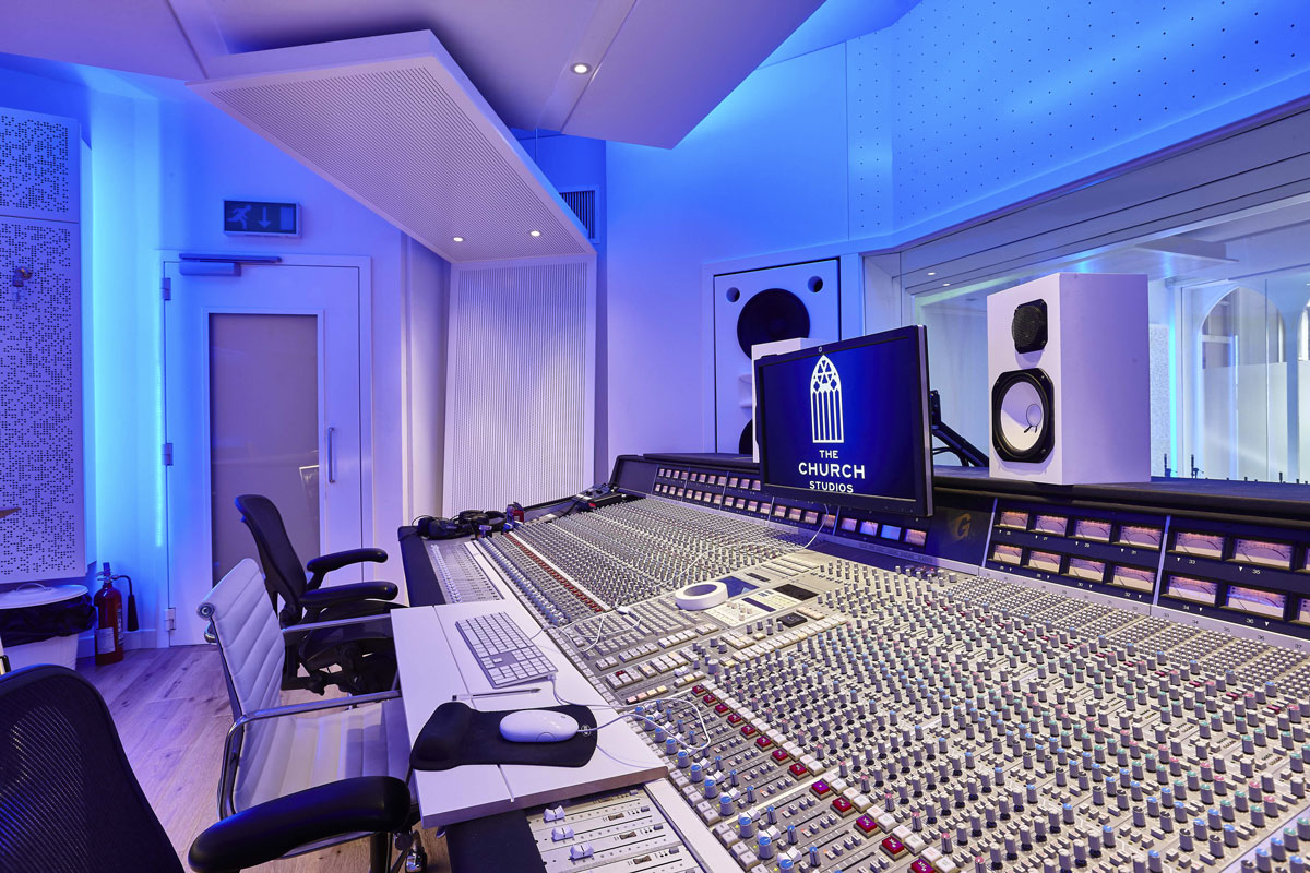 Studio 2, The Church Recording Studio, formerly owned by Dave Stewart of the Eurythmics | Interior Photography London | Architectural Photographer London
