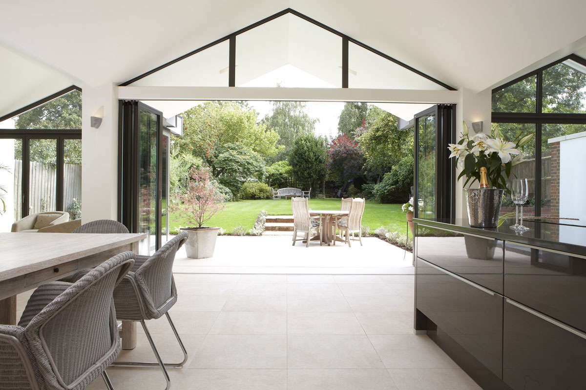 Hitchin Kitchen limestone tiling by mace architects | Interiors Photographer London