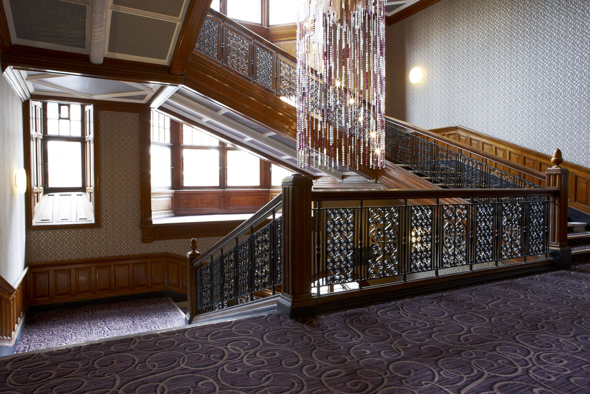 Grand Central Hotel staircase with feature lighting, Glasgow | Hotel Photography | Commercial Hotel Photographer