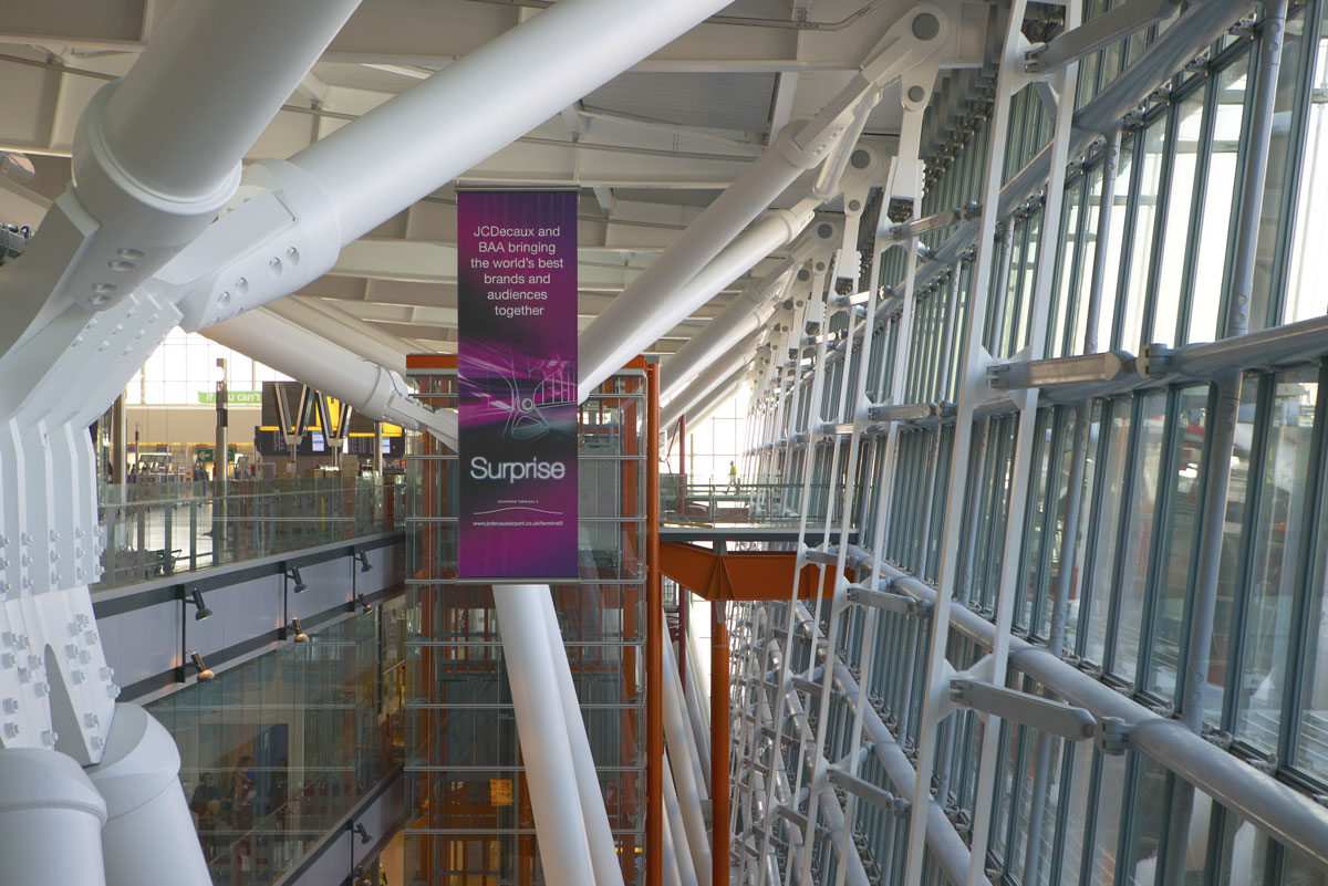 Heathrow Airport Terminal 5 glazed facade steel supports | Commercial Photographers London