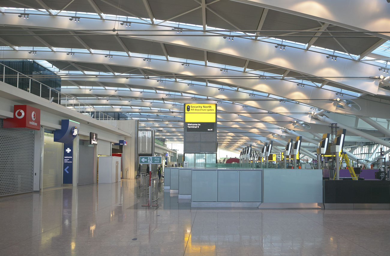 Heathrow Airport Terminal 5 roof and check-in desks | Commercial Building Photographer | Commercial Photography London