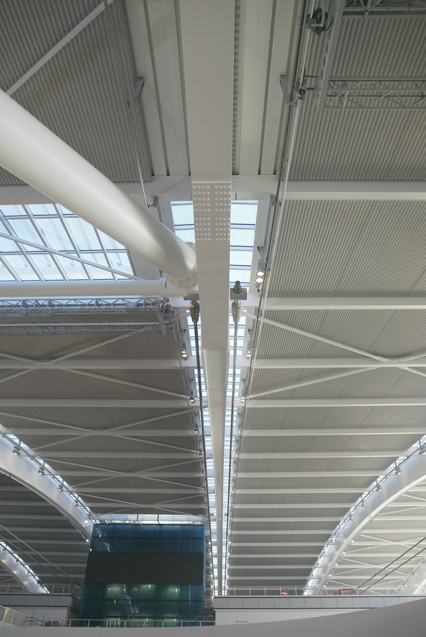 Heathrow Airport Terminal 5 steel and glass arched roof | Commercial Architectural Photography | Commercial Photographer London