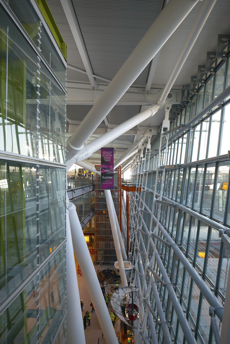 Heathrow Airport Terminal 5 glazed facade steel support system | Commercial Photographers London
