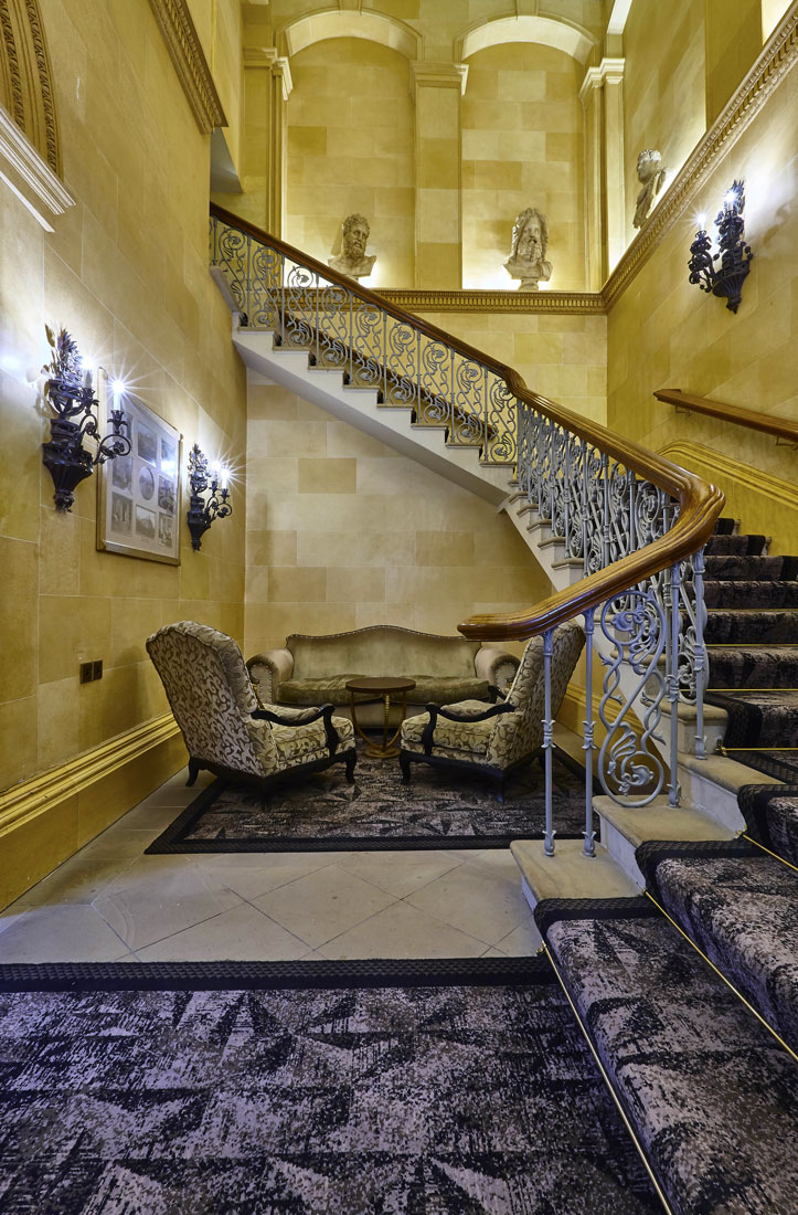 Hotel Photography of the grand staircase at Oulton Hall Hotel, Leeds | Hotel Photographer UK