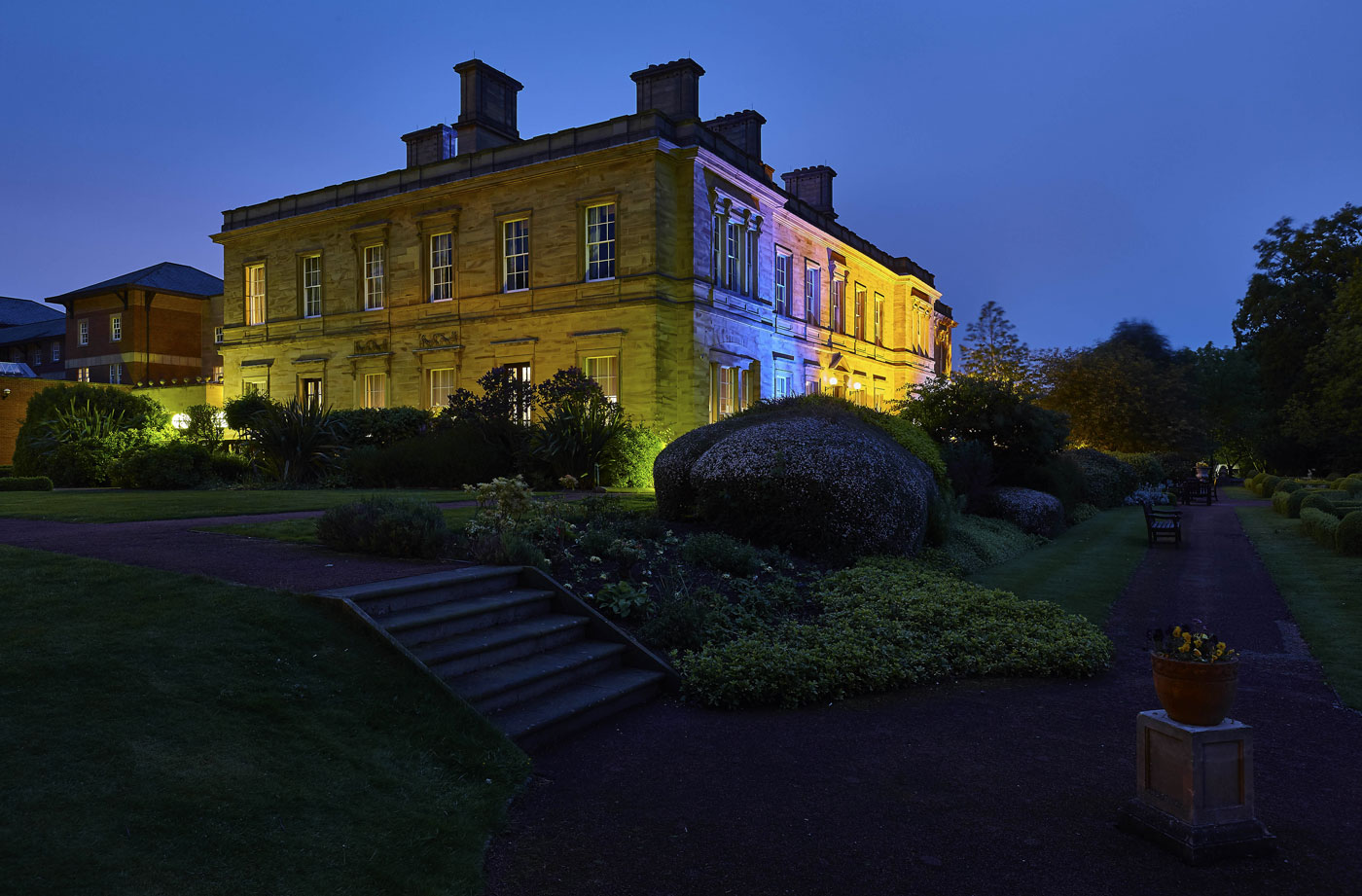 Hotel Photography of Oulton Hall Hotel, Leeds at dusk | Hotel Photographer UK | Commercial Photography