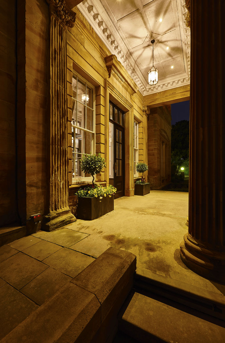 Hotel Photography of Oulton Hall Hotel Entrance Portico, Leeds at dusk | Hotel Photographers UK | Commercial Photography