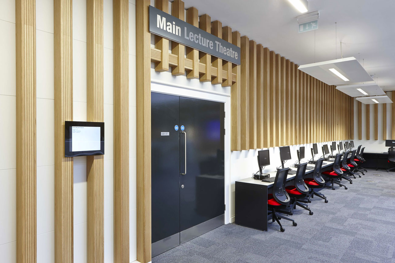 University Square Stratford lecture theatre | Interior Architecture Photography | Commercial Buildings Photographer