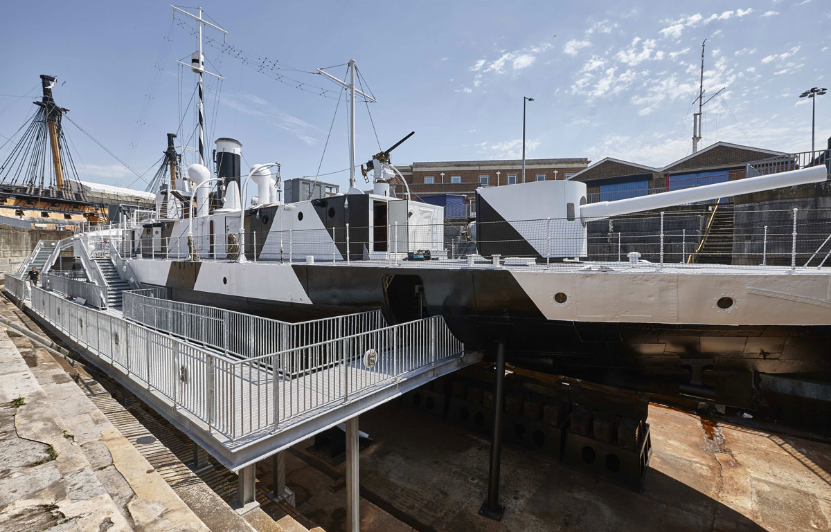 HMS M33 following conservation in Portsmouth Historic Dockyard | Commercial Photographers