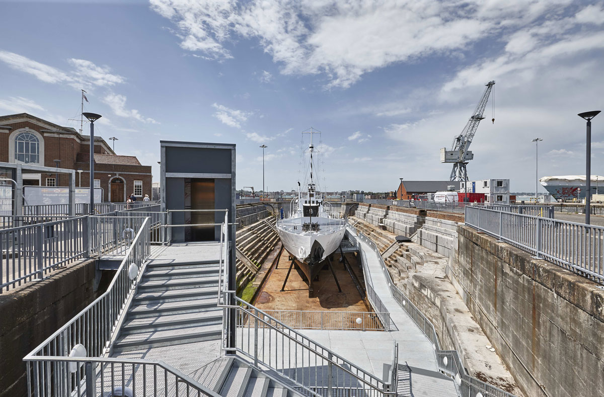 HMS M33 following conservation in Portsmouth Historic Dockyard| Commercial Photographers