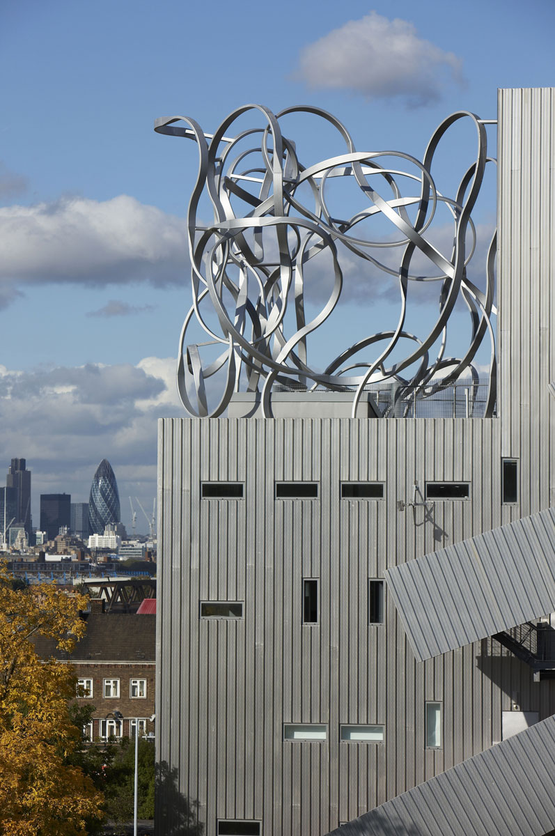 The Ben Pimlott Building 'Squiggle' sculpture at Goldsmiths College is an established icon on the London skyline | Architectural Detail Photography