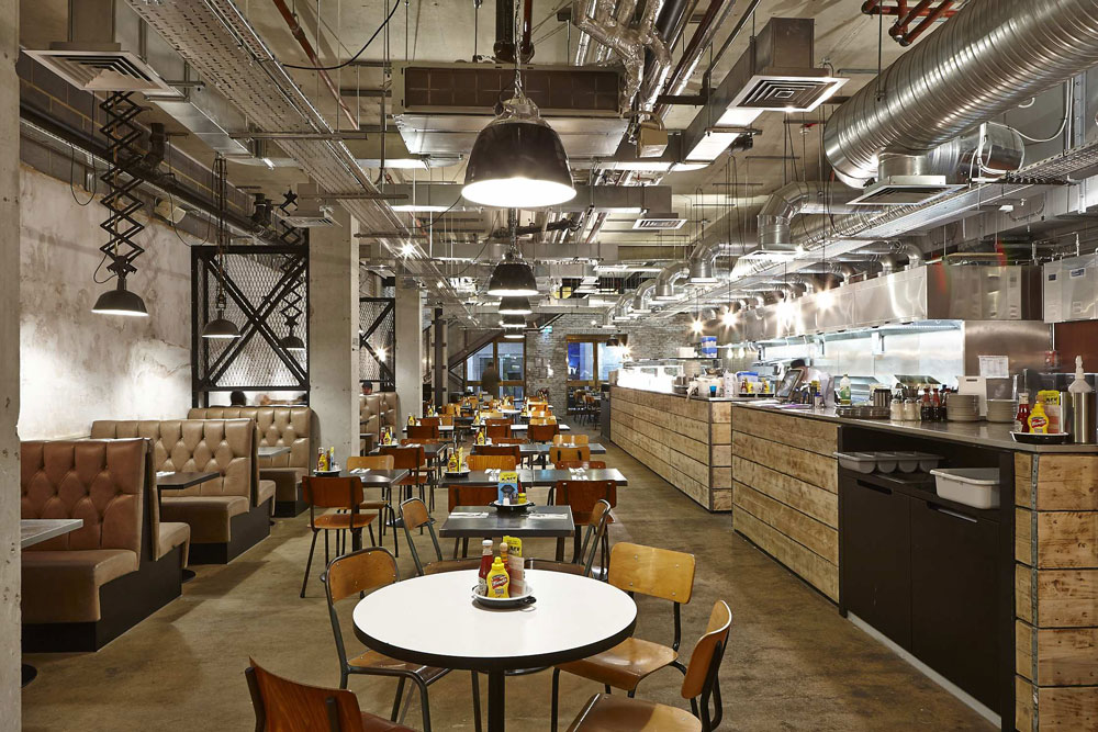 Byron Proper Hamburgers at the O2 Arena, Peninsula Square, London | London Restaurant Photography | Commercial Interiors Photographer