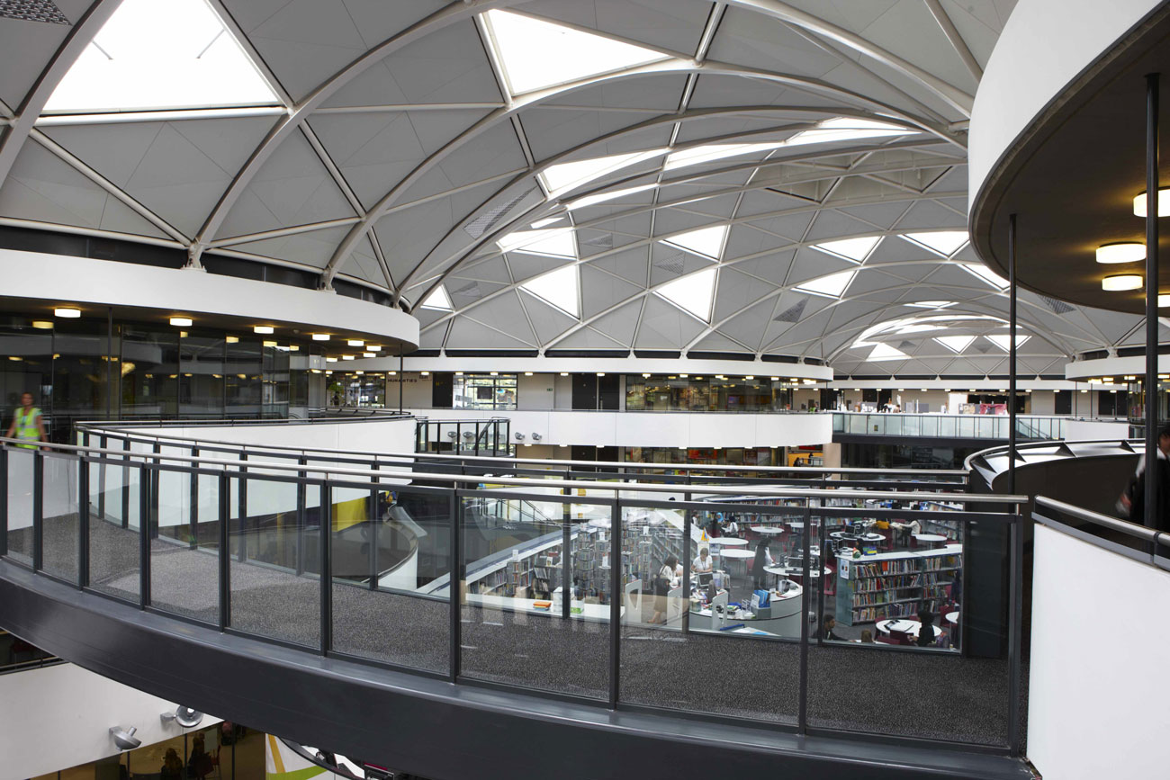 Thomas Deakin Academy elevated walkway and library, Peterborough   Interior Photographers